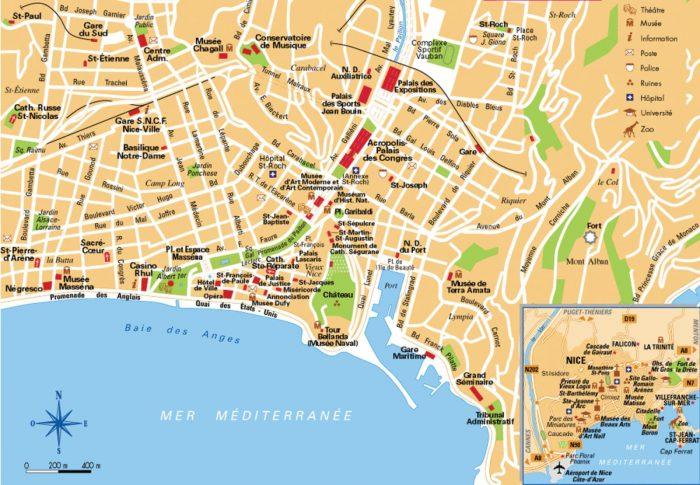 Туристическая карта Ниццы
