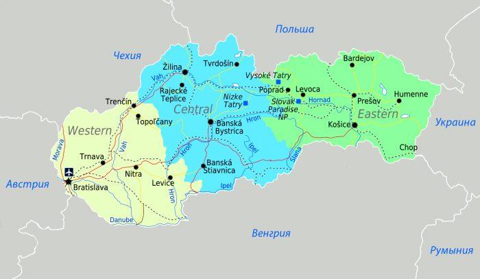 Карта основных регионов Словакии